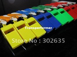 Free shipping 2000PCS Lot Promotion colorful plastic Sport whistle with lanyard 6 colors mixed Size: 5*1.8*2.2 cm