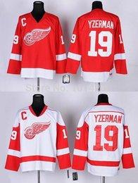 30 Teams-Wholesale Free Shipping Steve Yzerman Vintage Jersey red white #19 Detroit CCM Throwback Hockey Jerseys