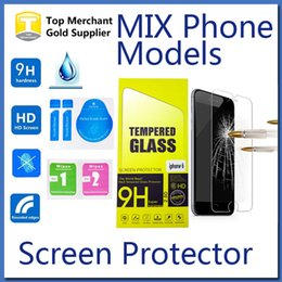 Wholesale For iPhone Galaxy S7 LG K7 Tempered Glass Screen Protector Film Iphone s Plus or on5 J7 G530 Grand Prime Mix Models Paper Package
