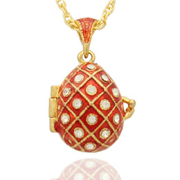 Wholesale Handcrafted Red green Enamel Open crystal Faberge Egg Russian Egg Locket Pendant Necklace
