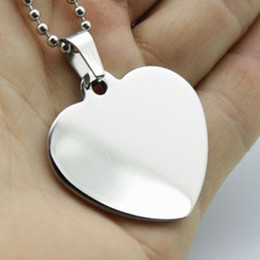 100pcs lot stainless steel blank heart pet dog ID tags Mirror polished fashion Dog Tags men pendants