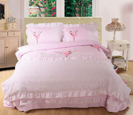 Wholesale Girls pink ballet lace cotton bedding sets bedclothes with reversible duvet cover flat sheet comforter set pc twin queen king