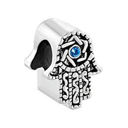10pcs per lot Rhodium and Gold Plating Sapphire Birthstone Evil Eye Hamsa Hand Bead Charm Fit Pandora Bracelet