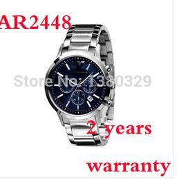 Wholesale New AR2448 Quartz Chronograph mens AR Watch Japan Movement Stainless Steel Strap Gents Wristwatch Original box