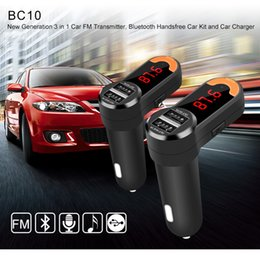 Wholesale new High Quality BC10 Mini Stereo Bluetooth Hands free Car Dual USB Max A Car Charger FM transmitter Two Way Audio