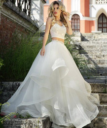 Wholesale Two Pieces Prom Dresses Lace Beading Formal Long Wedding Dresses Ball Gowns With Spaghetti Straps Zip Back Organza Dress