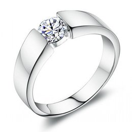 Acheter en ligne 925 ensembles de mariée-Vente en gros 1 Ct Princess Cut Créé diamant massif Bijoux Argent 925 Bague de fiançailles nuptiale