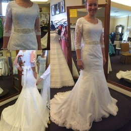 White Lace Mermaid Wedding Dresses with 3 4 Long Sleeves Scoop Neckline Beaded Sash Sweep Train Appliques Wedding Gowns Bridal Dress