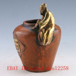 Wholesale Chinese Bronze Gilt Hand carved character Vase w Ming Dynasty