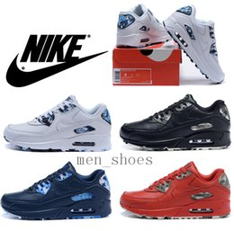2016 Shoes Run Air Max 2016 Nike Air Max 90 VT Genuine Leather Black Oreo Men Running Shoes 100% Original Quality Camo Tennis Shoes Plus Size With Box Shoes Run Air Max on sale