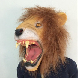 Wholesale Scary Lion Latex Mask Realistic Animal Head Mask with hair Halloween Masquerade Party Cosplay Costume Christmas novelty gift