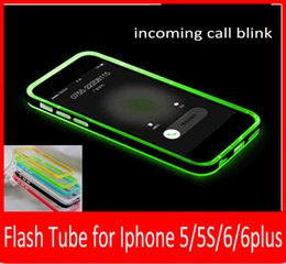 Hot sales LED Flashlight UP Remind Incoming Call Cover Case Ultra Thin Clear Case Covers For iPhone 6 6 Plus 5 5S.