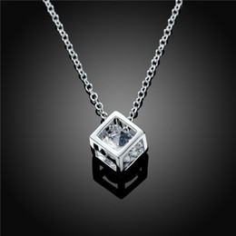 Wholesale Factory Price Fashion Dollar Chain Necklace With Cube Pendant And Clear Zircon Beat Selling For Girls