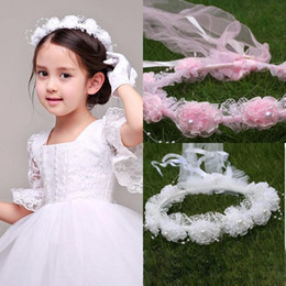 Wholesale White Pink Beaded Lace Flower Wreath For Weddings Sweet Flower Girl Hair Accessory Forehead Headband Hair Flowers