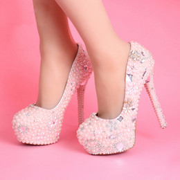Women Pumps Pink Wedding Dress s Handmade Platforms Ultra High Heels Bling Diamond Bridal Shoes Girl Prom Party Shoes