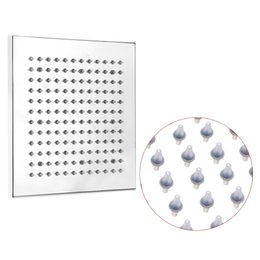 Wholesale 8 quot Chrome Finish LED Square Shower Spray Sprinkler Head Temperature Sensor Color Changing Bathroom Shower Heads Accs Chuveiro H15651