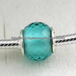 925 Sterling Silver Petite Facets Charm Bead with Green Quartz Fits European Pandora Jewelry Bracelets Necklaces & Pendants