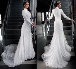 Vintage Modest Lace Wedding Dresses Long Sleeve Tradional Catholic Christian Wedding Gown Muslim Dubai Arabic Bridal Appliques Real Image