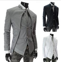 Gros- New Style Mode Hommes coréenne Trendy Urban Métrosexuel Man Asymétrie design Tempérament Costume Cultivant Petit suits design men promotion à partir de costumes conception hommes fournisseurs