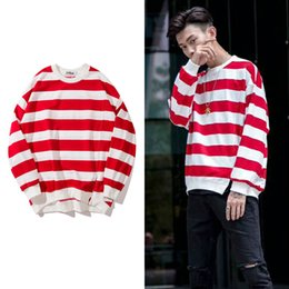 Wholesale free shipping men cotton round collar pullover striped oversized drop shoulder button split loose hoodies streetwear sweatshirt