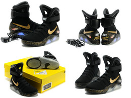 Wholesale Nike Air Mag Men Limited Edition Back To The Future McFly Mags New In Box Black Grey Basketball Shoes With LED Lights Battery Charging