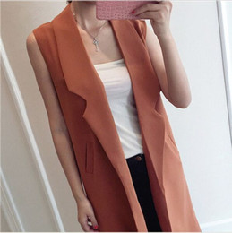 Wholesale Real Photos Women Brief Style Vest Femme Double Press Pockets Black Thin Outwear Sleeveless Jacket Factory Direct
