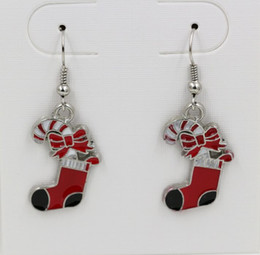 Wholesale Earring Red ENAMEL Christmas Socks EARRINGS Antique silver Fishhook Ear Wire x mm ab640