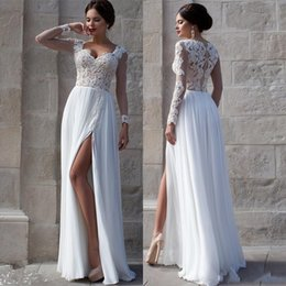 Wholesale Soft Chiffon Sheath - White Beach Wedding Dresses 2015 Lace Bridal Gowns Applique Sheer Illusion Long Sleeves Split Prom Gowns Soft Chiffon Cheaper Wedding Gowns
