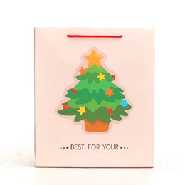Wholesale Christmas Tree White Gift Bag Elegant Portable Paper Hand Bag Best for You Holiday Party Decoration Gift Package SD765