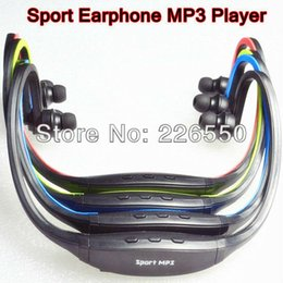 Wholesale Factory price New Earphone Sports MP3 WMA Music Player Wireless Handsfree Headset Micro SD TF Card with FM radio function