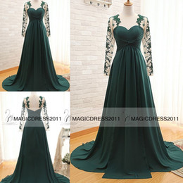 2019 Dark Green Prom Evening Dresses with Long Sleeve A-Line Crew Appliques Pleated Long Chiffon Formal Pageant Gowns Party Dress