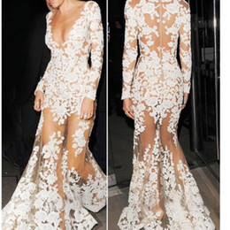 2019 Long Sleeve Mermaid White Lace Nude Prom Dress Sexy See Through Fashion Celebrity Special Occasion Party Evening Dress Robe De Soiree