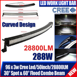 "50"" 288W CURVED CREE 96LED*3W Work Light Bar Offroad SUV ATV 4WD 4x4 9-32V Spot   Flood   Combo Beam 28800lm Truck Trailer Fog Lamp White"