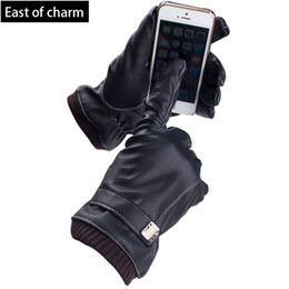 Wholesale-Windproof Outdoor Winter Gloves Women Leather Glove Mitten For Man Screen Touch Soft guantes luvas for Mobile Phone Tablet Pad