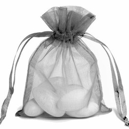 Silver Gray Organza Drawstring Pouch Party Candy Sack Earrings Ring necklace Braceklets Jewelry Gift Packaging Bag