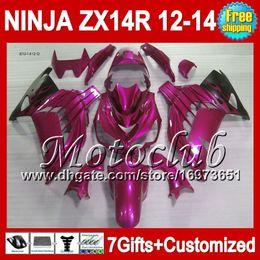 Pink black 7gifts For KAWASAKI NINJA ZX-14R ZX14R 2012 2013 2012 2013 ZX 14 R NEW Rose black 25C81 ZX 14R 12-13 12 13 12 13 ZX14 R Fairing
