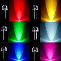 Wholesale 10mm Ultra Bright LED Diode Round Water Clear Red Green Blue Yellow White Degree