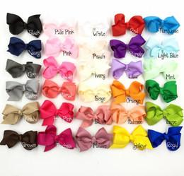 "3"" Grosgrain Bows Ribbon Bow With Hair Clip Boutique Hair Bows Hairpins Baby Hair Accessory 30pcs lot"