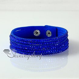 leather crystal rhinestone multi layer snap wrap bracelets slake bracelets Hand made bracelets fashion leather bracelet jewelry