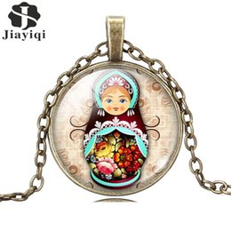 Wholesale Vintage Antique Jewelry Glass Cabochon Silver Long Chain Necklace Tradition Russian Doll Picture Pendant Necklace Women