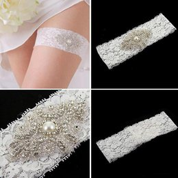 Wholesale Lace Bridal Garters White Ivory Cheap Sexy with Crystal Beads Wedding Leg Garters Bridal Accessories A053