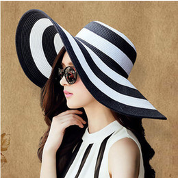 Wholesale-traveling summer cap female black and white stripe sunshade beach sun hats for visor straw chapeu chapeau sombreros women