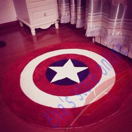 80cm Captain America Shield Carpet Cartoon Circle Handmade Living Room Parlor Hallway Bathroom Mats Rugs Cushion