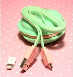 Wholesale X Cute Sweet Macaron Intelligent USB Cable Audio for Phone MP3 Computer with Macaron Storage Box Case Birthday Gift