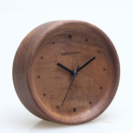 Wholesale Simple Design High Quality Black Walnut Vintage Clock Novetly Wood Antique Table Clocks For Study Room Home Decor Wooden Life