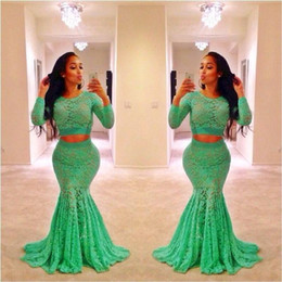 Green Prom Dresses Two Pieces Lace Mermaid Sheer Crew Neckline Two Pieces Lace long Sleeve Prom Gown Evening Dress