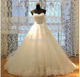 Wholesale Newest Real Image Princess A Line Lace Wedding Dresses Appliques W1420 Romantic Bridal Gowns Rhinestones Dazzling Crystal Modern Best