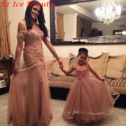 Dark Champagne Tulle Girl Pageant Gowns A Line Scoop Floor Length Mother And Daughter Dress Handmade Flower Cheap Flower Girls Dresses