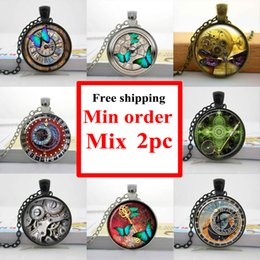 NS--0053 Wholesale glass photo cabochon necklace Steampunk Clock Necklace Glass Dome Pendant Handcrafted Jewelry