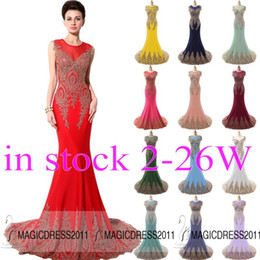 Wholesale 2015 Elegant Long Prom Evening Dresses IN STOCK Mermaid Crew Appliques Red Black White Dark Green Fuchsia Mint Long Formal Pageant Gowns